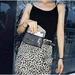 Handbags - Studded Leather Belted Bag Fanny Pack